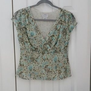 Loft silk empire waist floral top